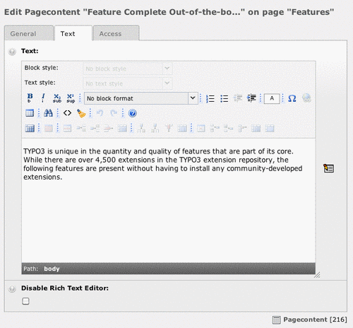 Rich Text Editor in TYPO3