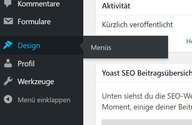 In WordPress das Menü ändern