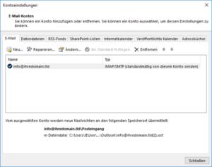 Liste der E-Mail-Konten in Outlook